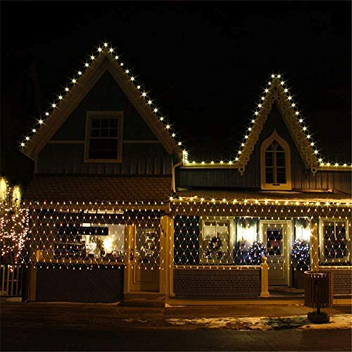 Hinterhof Net Light Terrasse Fairy Light String Outdoor Wasserdicht 200 LED Balkon Zaun Mesh, 8 Beleuchtungsmodi, 3mx2m Outdoor Garten Licht (warm)