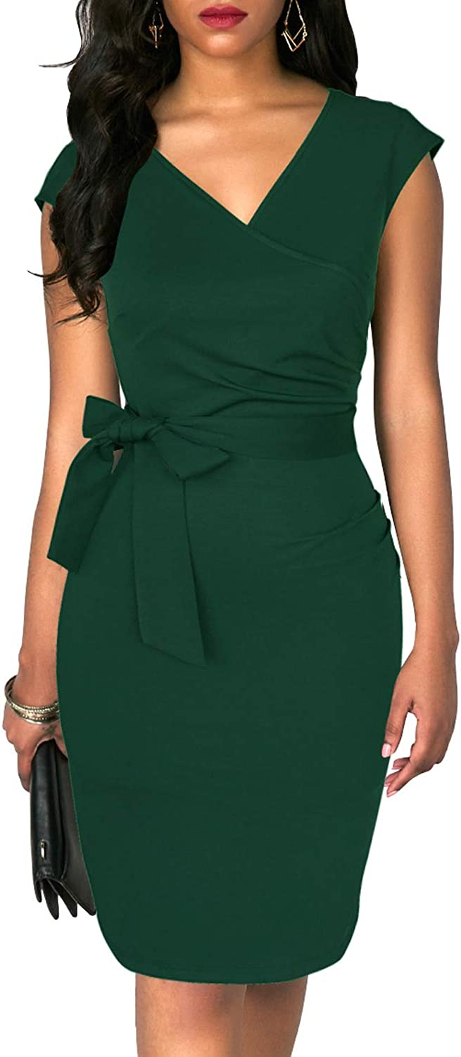TuoGo Women's Wrap V-Neck Ruched Bodycon Belted Knee-Length Casual Work Party Cocktail Black Pencil Dress