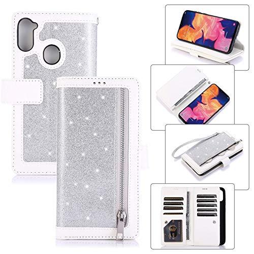 Miagon für Samsung Galaxy A21 Reißverschluss Brieftasche Hülle,Bling Glitzer Leder Handyhülle 9 Kartenhalter Flip Magnetverschluss Stand Schutzhülle Tasche und Handschlaufe