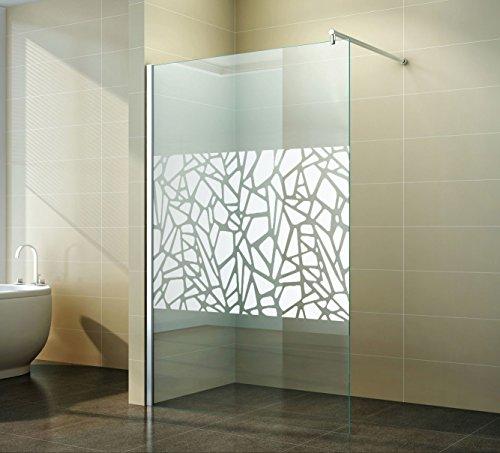 Walk in Duschabtrennung Scherben-Design Spiegel Duschwand Dusche Glas freistehend Seitenwand ESG 200 cm, Breite:140 cm