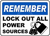 すべての電源をロックアウト メタルポスタレトロなポスタ安全標識壁パネル ティンサイン注意看板壁掛けプレート警告サイン絵図ショップ食料品ショッピングモールパーキングバークラブカフェレストラントイレ公共の場ギフト