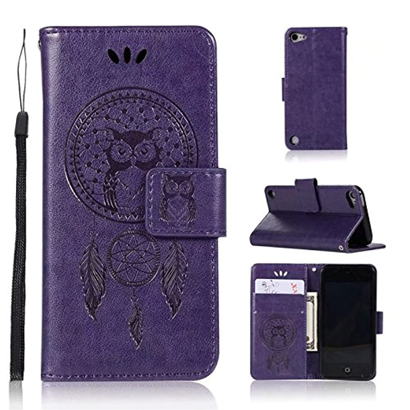 ガジュマル錆び蒸留ケース for iPod Touch 6,ケース for iPod Touch 5, Abtory PUレザー ケース 手帳型 保護ケース カードポケット付き 横置きスタンド機能付き マグネット式 スマホケース スマートフォンケース for iPod Touch 6 Purple