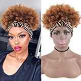 DL Y Headband Wigs for Black Women Synthetic Short Kinkys Curly Afro Wig with Silver Headband Attached Natural Black Head Wrap Wig 2 in 1 Synthetic Curly Hair Wigs for Black Women (Ombre Brown #1B/30)