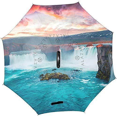 Elxf Ozean Meer Wasserfall Natur Himmel Umgekehrte Regenschirme Wende Sonnenregen Regenschirm für Auto im Freien mit C-förmigen Griff