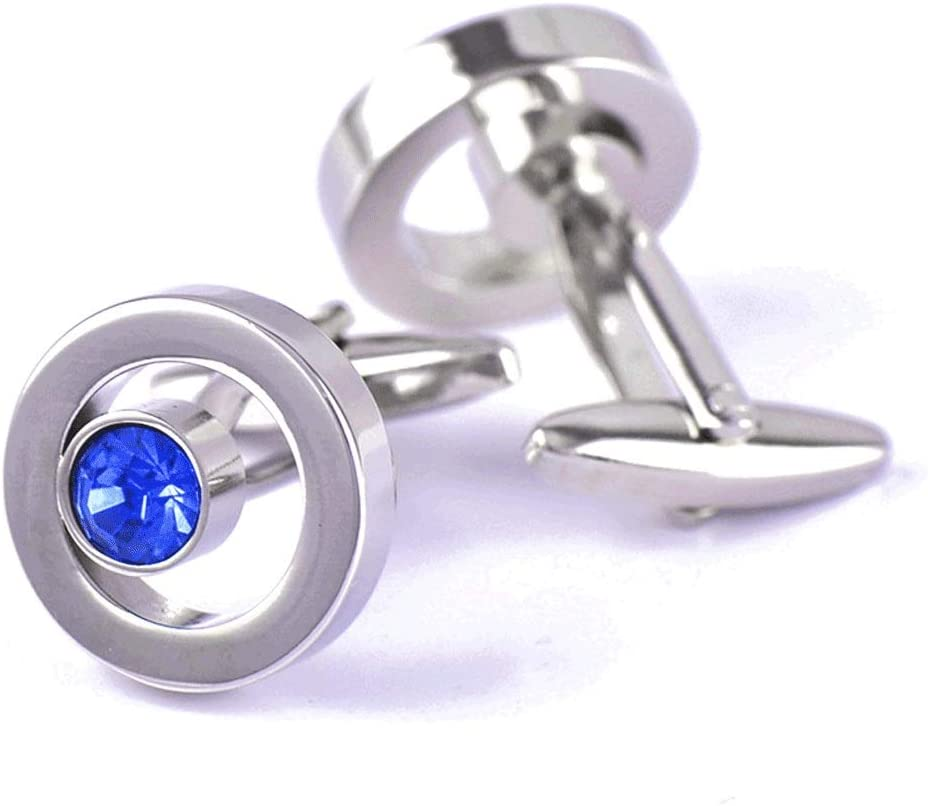 ZZABC French Shirt Cufflinks Men's and Women's Business Banquet Wedding Speech Gifts Simple High Grade Metal Blue Crystal Cuff Links