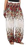 LOFBAZ Harem Pants for Women Yoga Boho Hippie Clothing Palazzo Bohemian Beach Maternity Pajama Indian Gypsy Travel Clothes Floral White M
