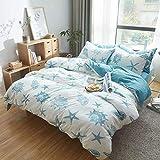 DONEUS Jersey Knit Cotton Duvet Cover Queen Full Size White Blue Duvet Cover Set 3 Piece Bedding Set 1 Duvet Cover and 2 Pillow Shams,Simple Starfish Pattern Design