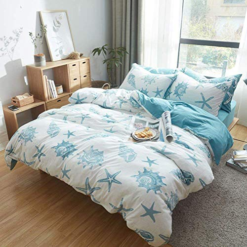DONEUS Duvet Cover Twin, Jersey Knit Cotton Duvet Cover Set 3 Pieces Starfish Pattern Bedding Set (1 Duvet Cover + 2 Pillow Shams),Ultra Soft and Easy Care(Twin/Twin XL,White Blue)