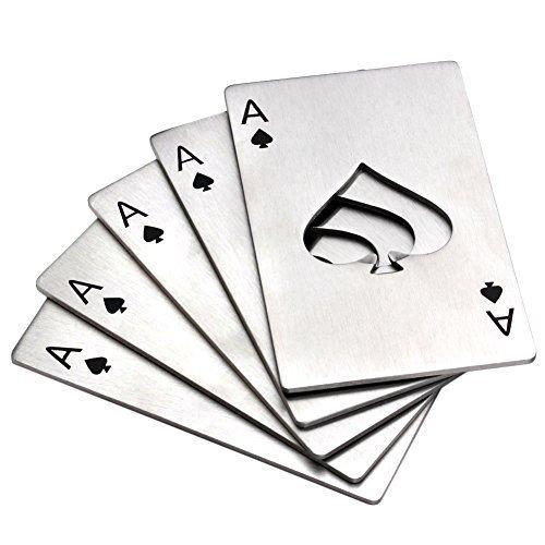 Bottle Opener,Yerwal 5 Pcs Stainless Steel Credit Card Size Casino Bottle Opener