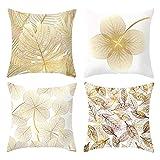 4Pcs Patrón de hojas amarillas doradas Funda de cojín de abrazo Fundas de cojín de sofá...
