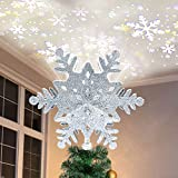 PABIPABI Christmas Tree Topper Lighted Snowflake, 3D Hollow Silver Snowflake Projector, Sliver Snow Tree Topper for Christmas Tree Decorations