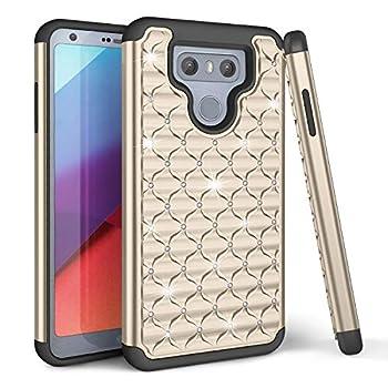 TILL LG G6 Case LG G6 Back Cover Studded Rhinestone Crystal Bling Diamond Shock Absorbing Hybrid Defender Rugged Slim Case Cover for LG G6 [Gold]