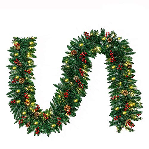 10FT Christmas Garland with 50 LED Lights - Pre-lit Outdoor Xmas Garland - Battery Powered Waterproof String Light with Timer - Pine Garland with Red Berries Snow Pine Cones - 10 Foot by 10 Inch