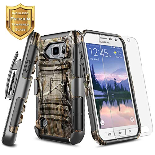 S7 Active Case w/[Tempered Glass Screen Protector] NageBee [Heavy Duty] Armor Shockproof [Belt Clip] Holster w/[Kickstand] Combo Rugged Case for Samsung Galaxy S7 Active G891 (2016 Release) -Camo