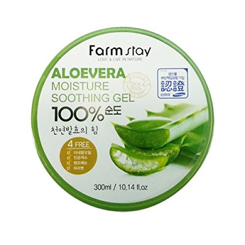 Farm Stay - Aloe Vera Moisture Soothing Gel 300 ml for men and woman - 100% Aloe Vera for dry skin - Facial Treatment - Moisturisers - Day Care - Gels