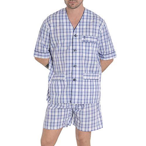 El Búho Nocturno Pijama de Caballero de Manga Corta y Chaqueta a Botones clásico a Cuadros de Tela popelín para Hombre XL Azul Marino Cuadros