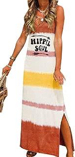 FSSE Women Casual Sleeveless V Neck Sundress Print Split A-Line Long Dress