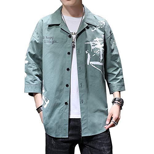 Men's Workwear Shirt Trendy Casual Loose Cotton Three-Quarter Sleeve Shirt Fashion Casual Handsome Shirt Jacket Top L Army Green