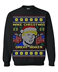 Trump Ugly Christmas sweaters. MCGA Christmas Sweater with Yellow Elements