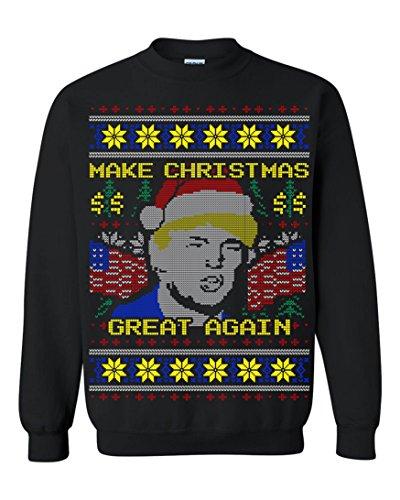 Donald Trump Make Christmas Great Again Ugly Christmas Men Sweatshirt Black (X-Large)