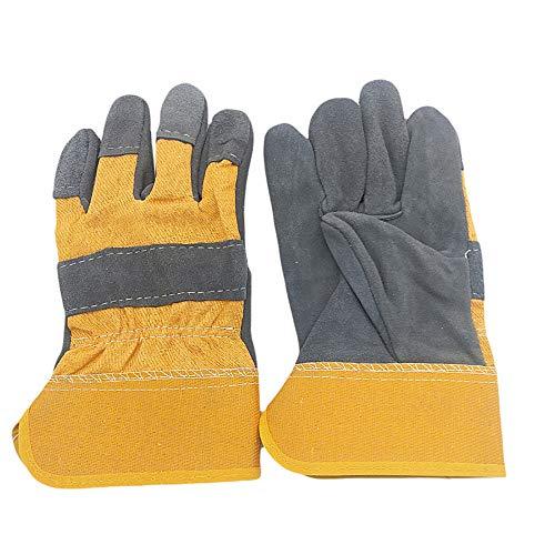 2 Paar kurze Lederhandschuhe, verschleißfest, hitzebeständig, Schutzhandschuhe Maschine