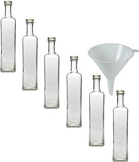 Viva Haushaltswaren - 6 bottigliette con Chiusura a Vite, capacità 500 ml, Imbuto del Diametro di 9,5 cm Incluso