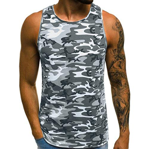 ZHANSANFM Herren Tanktop Tank Top Tankshirt Camouflage T-Shirt mit Print Unterhemden Ärmellos Weste Muskelshirt Freizeit Fitness XL Grau