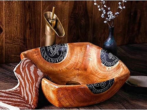 DWSS® Wastafel Gootsteen Handgemaakte primitieve stijl Steen zoals porselein Vierkante aanrechtblad Badkamer Sink-1