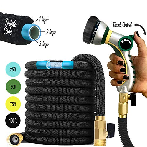 "Premium Garden Hose: 2020 Expandable Hose Retractable No Kink Triple Layer Latex Water Hose with 3/4"" Brass Connectors and 8 Pattern Spray Nozzle - 75ft"