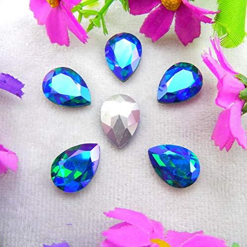 Glitter Glass Crystal 7 Sizes Clear AB & Rainbow Colors pointback Water Drop Shape Glue on Rhinestone Beads Applique DIY Trim,A12 Emerald AB,7x10mm 50pcs