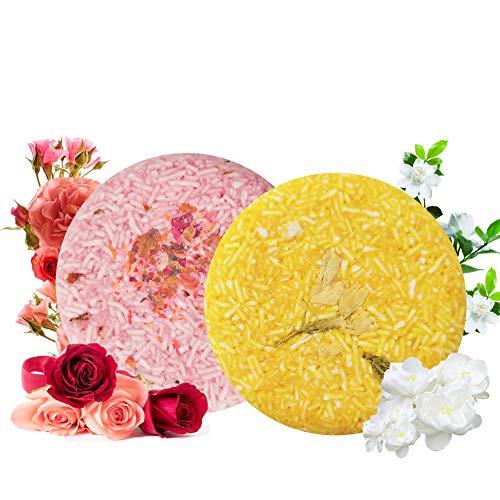100% Vegan Shampoo Bar fürs Haar 2 Stücke Festes Shampoo HaarseifeNaturkosmetik für Behandeltes Trockenes Geschädigtes Haar für Damen Herren (Rose und Jasmin)