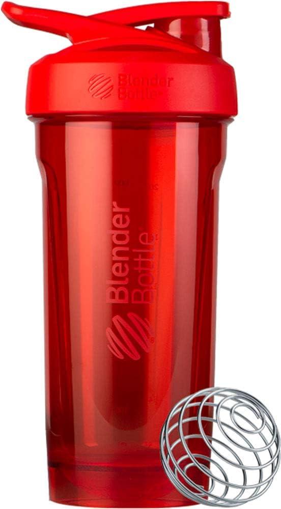 BlenderBottle Strada Tritan 500881 - Botella de agua con BlenderBall, apta como coctelera de proteínas, sin BPA, escala hasta 600 ml, capacidad 820 ml, color rojo, 273 g, 500881