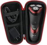 para Philips Series 3000/AT899/PT860/16 S5420/06 5000 S5110/06 Afeitadora eléctrica Duro Viaje Estuche Bolso Funda por Khanka (For series 3000/ AT899, Black zipper)