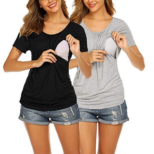 UNibelle Camiseta de lactancia de manga corta para mujer, para embarazo, maternidad,...