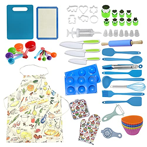 Mocoiron 63-Piece Chef Set for Kids- Kitchen Cooking and Baking Kits - for Kids Ages 6 and Up Complete Cooking Supplies for the Junior Chef -Gift Set for Girls, Boys, Toddlers