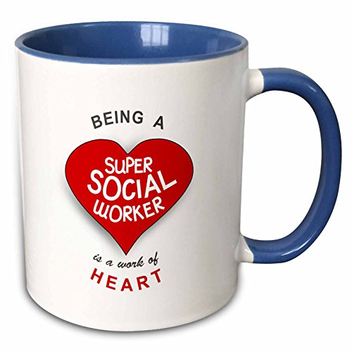 3dRose Being A Super Social Worker Is A Work Of Heart-Red Job Appreciation Two Tone Mug, 11 oz, Blue