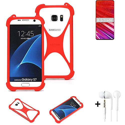 K-S-Trade® Handyhülle + Kopfhörer Für Lenovo Z5 Pro GT Schutzhülle Bumper Silikon Schutz Hülle Cover Case Silikoncase Silikonbumper TPU Softcase Smartphone, Rot (1x),