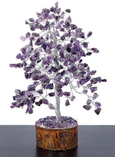 Crystals Healing Stones Amethyest Natural Healing Gemstone Bonsai feng Shui Money Crystal Tree With PENDANT GIFT of Life Good Luck Home Office Decor Spiritual Gift (Silver Wire 250 Beads) of 9-11 Inch