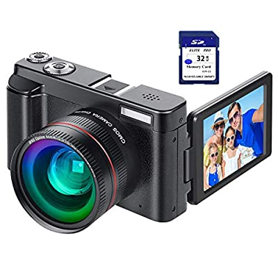 """Digital Vlogging Camera YouTube Vlog Camera HD 1080P 30FPS 24MP Camcorder with 3.0"""" IPS Flip Screen, WiFi Function, Wide Angle Lens,16X Digital Zoom, 32GB SD Card, 2 Batteries from Rosdeca"""