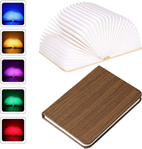 Pujuas Lámpara LED Lámpara de Libro Lámpara de Mesa Luces Portátiles y Plegables de Madera hasta 360° para Dormir Leer Decorar Regalo Original (9 * 12 * 2.5cm)