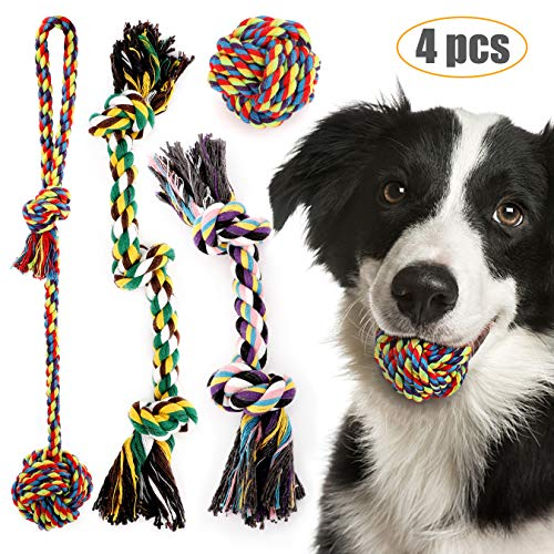 Dog Chew Rope Toys Puppy Teething Toy Knot Rope Tug Interactive Biting Ball Aggressive Chewer Nature Cotton 4PCS