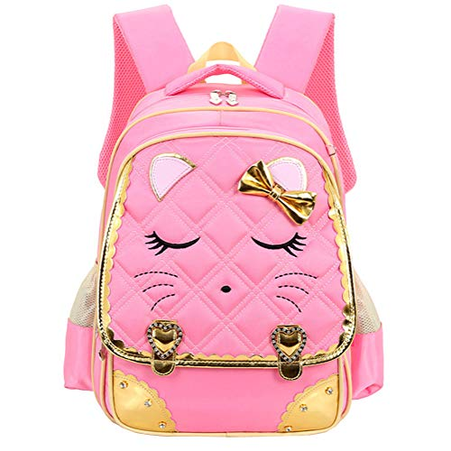 Efree Cute Cat Face Bow Diamond Bling Waterproof Pink School Backpack Girls Book Bag (Large, Pink)