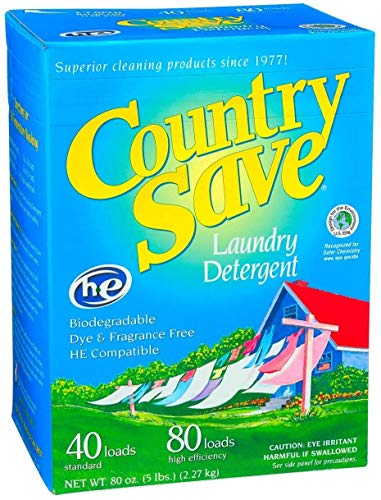 COUNTRY SAVE - Biodegradable Non Toxic Fragrance Free Laundry Detergent Powder - 40 Loads for Regular Washes and 80 Loads for HE Machines - Country Save Laundry Detergent - 4 x 5 lbs (80 oz)