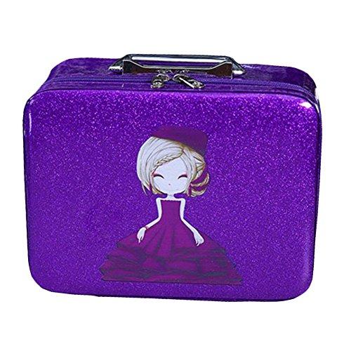 Cosmetics Case Maquillage train Case Cosmétiques Organizer Beauty Case -Violet