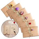 6 pezzi Biglietto Di Auguri Cartolina Buste, Retrò Carta Kraft Fiori Secchi Decorato Cart...