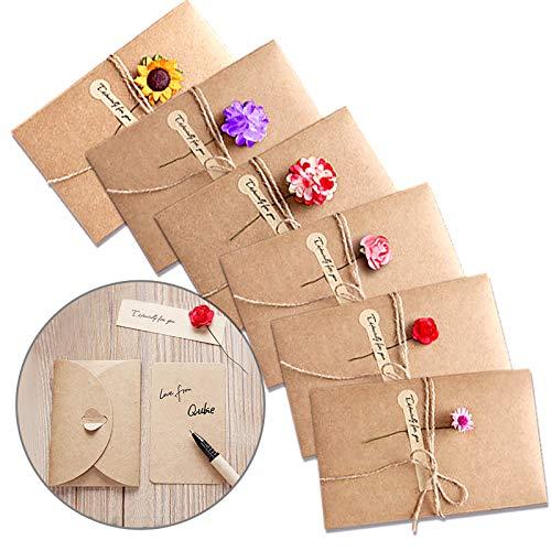 Tarjeta de Felicitación, Papel Kraft Retro Hecho a Mano Sobres en Blanco, Flores Secadas Postal Decorada para Navidad Cumpleaños Día de San Valentín Día de la Madre 6 Packs 🔥
