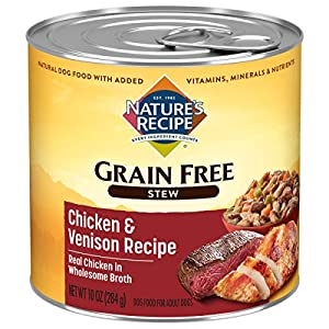 Nature's Recipe Grain Free Wet Dog Food, Chicken & Venison Stew Recipe, 10 Ounce Can (Pack of 12)