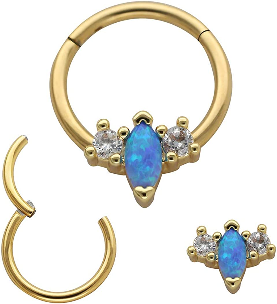 Excepro Nose Piercing 316L Surgical SS Multicolor PVD Plated White and Blue Opal Body Jewelry Cartilage Studs Nose Hoop Rings