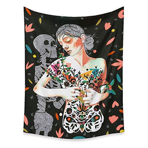 LYQSCL Tapiz De Pared,Indio Hippie Tapices Esqueleto Y Mujer Floral Sexy Psicodélica Desnuda Bohemia Colgante De Pared Decoración De Pared para Dormitorio Sala De Estar Toalla De Playa