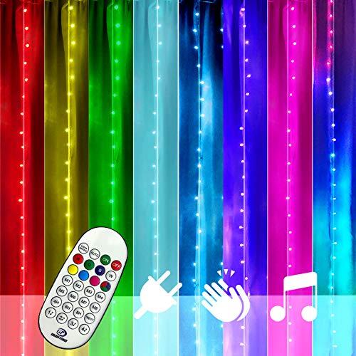 PALANCHY Luz de cortina led interior, 3*3m Control de voz luz de cadena de ventana enchufar,8 colores * 8 modos con control remoto y temporizador, 300 RGB Impermeable Cadena de luz de hadas multicolor
